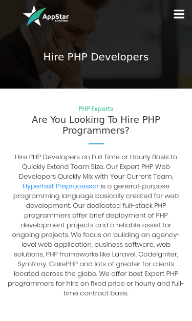 www appstarsolution com/hire-php-developers SEO Report | SEO