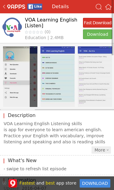 www 9apps com/android-apps/VOA-Learn-English-By-Listening SEO Report