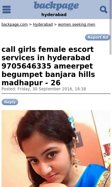 Hyderabad Backpages